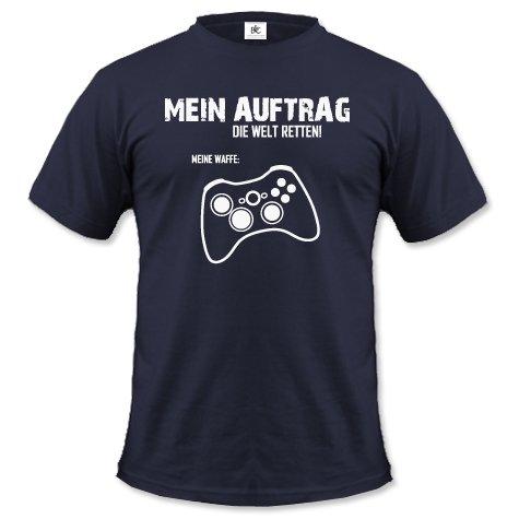 mein-auftrag-die-welt-retten-meine-waffe-x-box-controller-herren-t-shirt-in-navy-by-jayess-gr-l