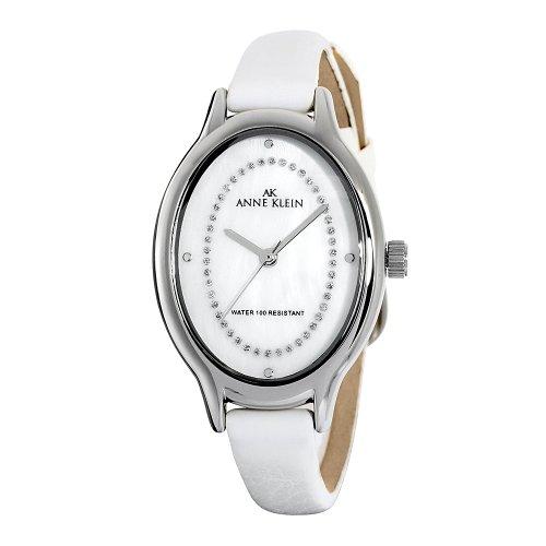 AK Anne Klein Women's  Swarovski® Crystal AccentedSilver-Tone White Strap Watch #109163WTDB