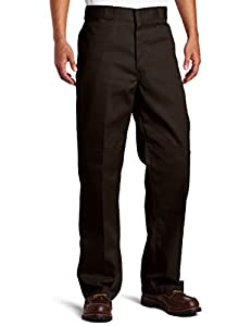 Dickies Men's Loose Fit Double Knee Work Pant, Dark Brown, 36x30