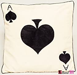 Bandbox Ace of Club Cushion Cover - White ( Size-- 16 in. x 16 in.)