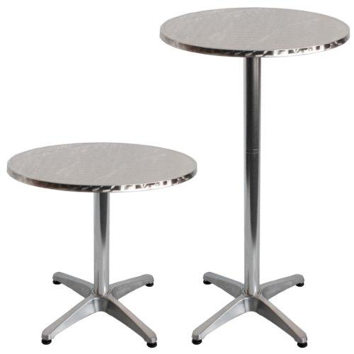 Torrex-30151-Bistrotisch-aus-Aluminium-mit-Edelstahlplatte-hhenverstellbar-75cm-oder-110cm--60cm