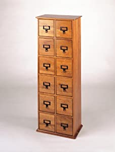 Library Card File Multimedia Cabinet Oak