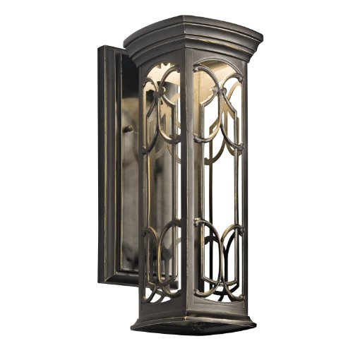 Kichler Lighting 49226Oz Led Franceasi 14-1/2-Inch Light Outdoor Led Wall Lantern, Olde Bronze