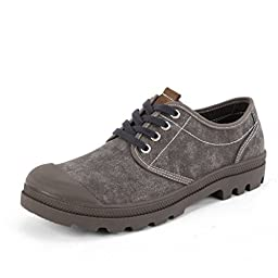 xr-6290-Dark Grey-39 SUNROLAN Cromer Men\'s Casual Style Work Shoes Canvas Lace-Up Oxford US 7.5