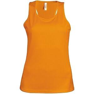 Kariban Proact- Camiseta de deporte de tirantes para chica/mujer (Grande (L)/Naranja)