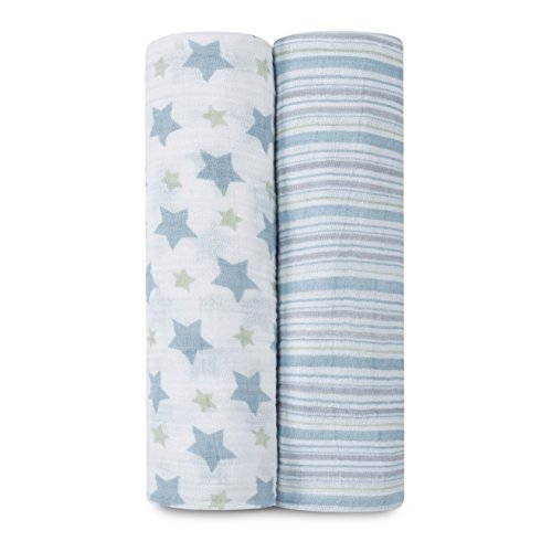 aden + anais Classic Muslin Swaddle Blanket 2 Pack, Prince Charming - 1