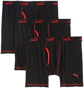 Puma Men's 3Pack Volume Boxer Brief, Black/Red, X-Large