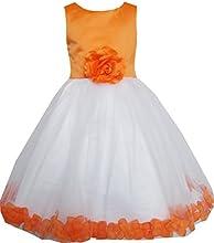 Sunny Fashion Girls Dress Orange Flower Tulle Wedding Pageant Bridesmaid