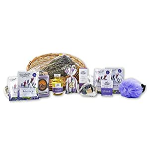 handverpacktes Geschenkset Lavendeltraum inklusive Wellness Badezusatz sowie Duschgel und Seife plus Raumspray