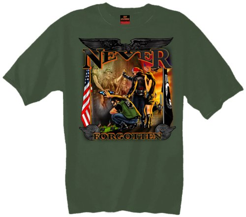 Hot Leathers Vietnam Wall T-Shirt (Olive Drab Green, Medium)