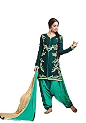 Morpankh Boutique Women's Cotton Cambric Bottle Green Unstitched Salwar suit Patiyala