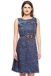 Fasnoya Women's Blue Denim Sleeveless Dress
