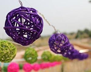 Solar Powered LED Purple Rattan Garden Lantern Fairy Light String by Storm Trading Co Ltd