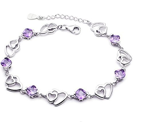 Outop 925 Sterling Silver Bracelet Double Purple Heart Crystal Bangle Bracelet