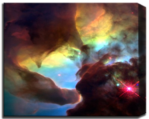 Giant Twisters In The Lagoon Nebula-Hubble Telescope Image From Nasa 30X38 Gallery Styled Canvas Fine Art Print