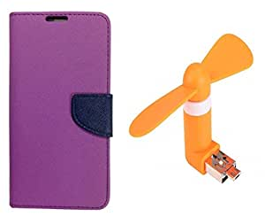 Novo Style Book Style Folio Wallet Case MicromaxCanvas Sliver 5Q450 Purple + Smallest Mobile Fan Android Smart Phone