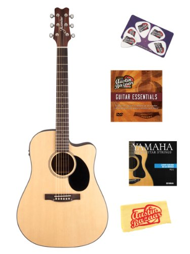Jasmine Jd39Ce Dreadnought Cutaway Acoustic-Electric Guitar Bundle With Hardshell Case, Instructional Dvd, Strings, Pick Card, And Polishing Cloth - Natural