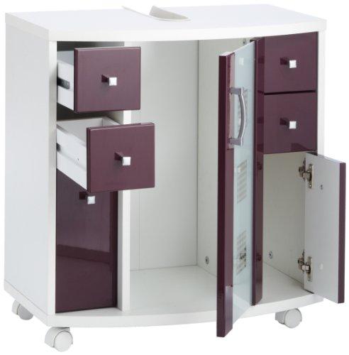 Posseik 5418 89 waschbeckenunterschrank nizza nizas wei hochglanz brombeer badschrank for Comconforama meuble sous lavabo