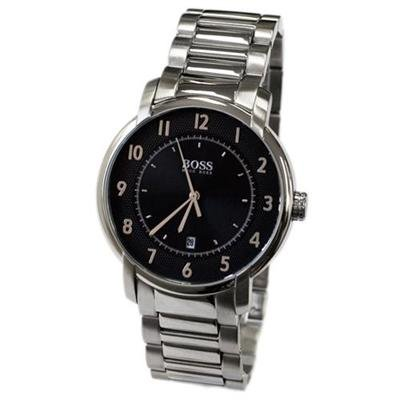Hugo Boss Men's Classic Stainless Steel Watch; Analogue Metallic Black Clear Dial with Date Display; 1512200