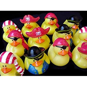 Click to buy Pirate Birthday Party Ideas: 12 Mini Pirate Rubber Ducks from Amazon!