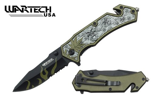 """UNISHOW(TM) WARTECH USA 8"""" Assisted Open Folding Tactical Camping Rescue Pocket Knife Marijuana Leaf and Skull Design for Sports, Outdoor and Indoor Use, Come with Glass Breaker & Seat Belt Cutter By Bubble Star (grey green)"""