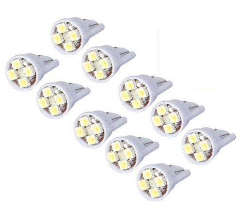 Cutequeen 10PCS LED Car Lights Bulb White T10 2835 4-SMD 80 Lumens 194 168 (pack of 10) (Bulb Led Car compare prices)