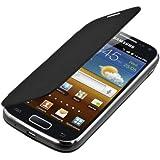 Funda potectora práctica y chic FLIP COVER para Samsung Galaxy Ace 2 i8160 en Negro de kwmobile