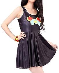 Dissa Black Smile Dog Fashion Skater Dress,Black,One Size
