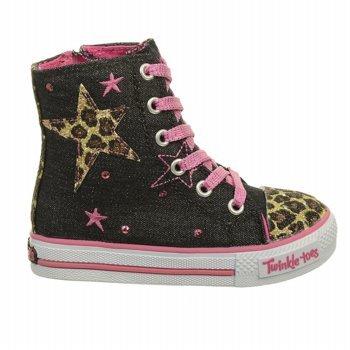 Skechers Kids' Twinkle Toes-Wild Spark Sneaker Toddler (Black/Hot Pink 5.0 M) front-273123