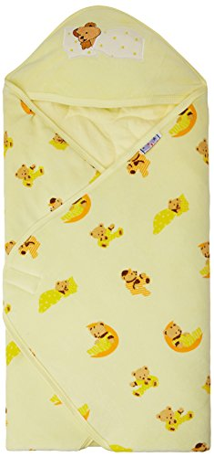 Tiny Care 375 A_Y Baby Hooded Wrapper Colour Printed (Yellow)