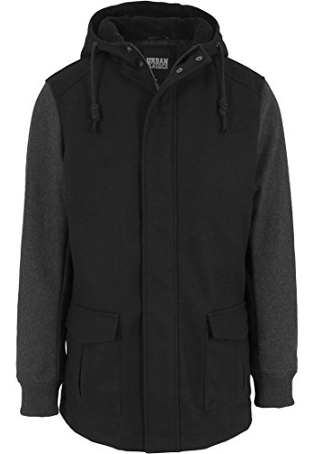 Urban Classics - Jacke Contrast Hooded Jacket, Giacca Uomo, Multicolore (Blk/Cha), Medium (Taglia Produttore: Medium)