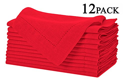 100% Linen Hemstitch Napkins - (Set of 12) Size 20x20 Red - Hand Crafted and Hand Stitched Napkins with Hemstitch detailing. The pure Linen fabric works well in both casual and formal settings (Linen Napkins Red compare prices)