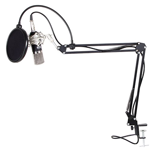 Tonor 3-in-1 KIT di Microfono e Supporto e Filtro di XLR Microfono a Condensatore a 3.5mm per Podcasting Studio Recording per Computer con Supporto di Microfono Regolabile Sospensione Braccio in Forma Forbici