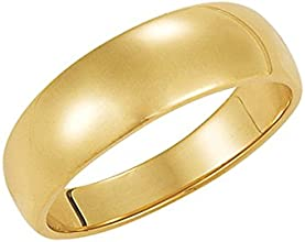 6mm Half Round Tapered Wedding Band in 10 Karat Yellow Gold