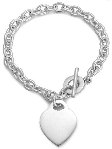 Heart T-Bar Bracelet, Silver, 19cm Length, Model 8.24.3362