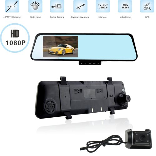 Agptek 4.3Inch 1080P Full Hd Tft Lcd 2Mp Dual Lens Car Auto Rearview Mirror Dvr Video Front/Back Camera Recorder Camcorder