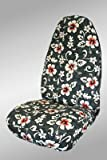 CUSTOM Volkswagen Beetle Seat Covers - REAR FULL SET: Bench w/ 2 Adjustable Headrests (Coupe) (1999-2009) - Hawaiian New Floral Gray - Made in the USA