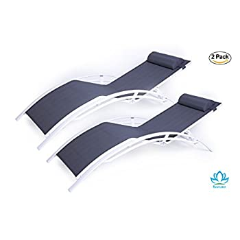 Kozyard KozyLounge Elegant Patio Reclining Adjustable Chaise Lounge Aluminum and Textilene Sunbathing Chair for All Weather with headrest (2 pack), KD,very light, very comfortable …