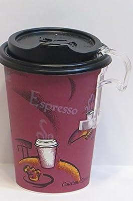 12 Oz. Solo Bistro Design Paper Coffee Cup with Black Dome Lids- 50 Sets - plus 5 plastic clip on handles