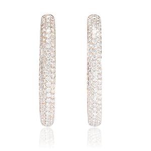 Diamond 18k Rose Gold Hoop Earrings