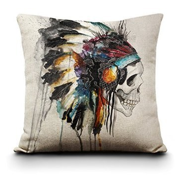 2015 New Printing Cushion Cover Watercolor Skull Headdress Pillow Cover Sofa Cover Decorative Pillows-American Indian