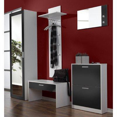 schauen sie zum gunstigen preis 3 tlg garderoben set torino farbe wei schwarz. Black Bedroom Furniture Sets. Home Design Ideas