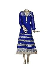 Blue Georgette Embroidered Designer Party Wear Kurti