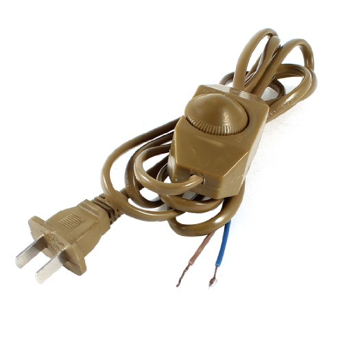 US Plug AC 250V/110V Khaki Lamp Power Cord Cable Dimmer Switch