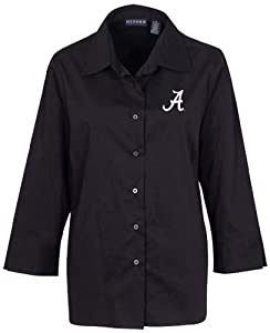 NCAA Alabama Crimson Tide Ladies Solid Stretch Woven Shirt, Black, Large by Oxford