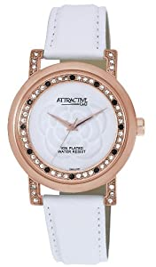 Q and Q Attractive ION-PLATED women Rose Gold Case White Band