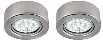 2 Pack Surface Mounted LED Under Cabinet/Shelf Light - Cool White including Transformer 12 Volt 1.5 Watt Per Light