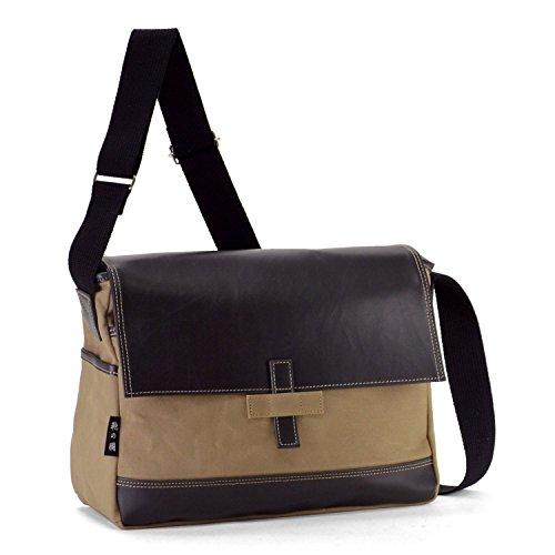 鞄の國 パラフィン加工 帆布シリーズ 横型ショルダーバッグ 33637 (ベージュ)