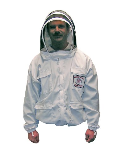 Mann Lake CV145 Cotton/Polyester Pollinator Jacket with Veil, White, X-Large