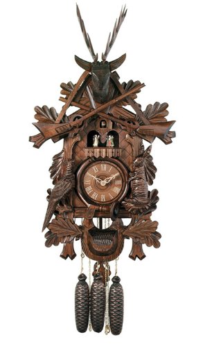 River City Clocks MD849-24 Eight Day Musical Hunter'S Cuckoo Clock with Dancers, Hand-Carved Animals, Leaves, And Buck, 24-Inch Tall